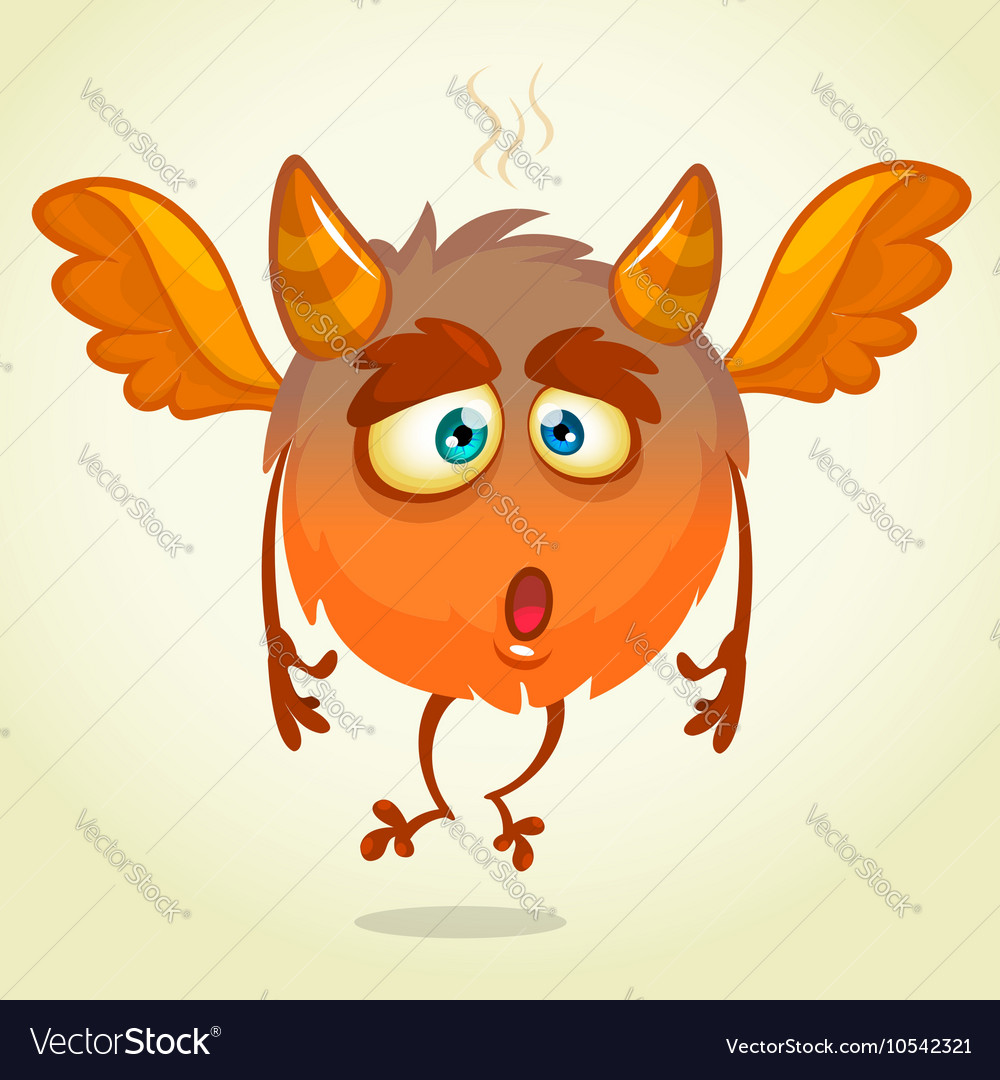 Cute cartoon flying monster surprised vector