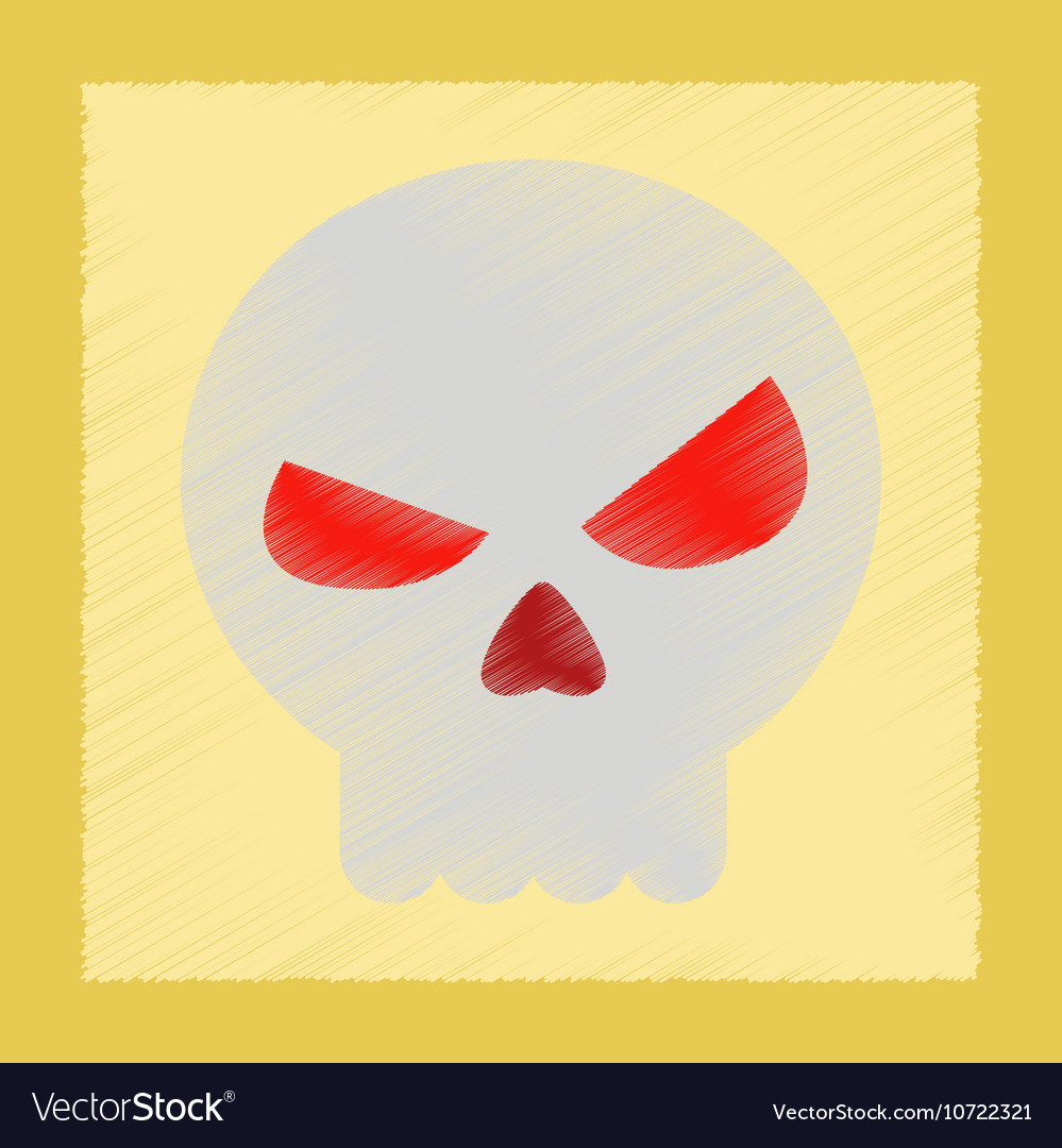 Flat shading style icon halloween emotion skull vector