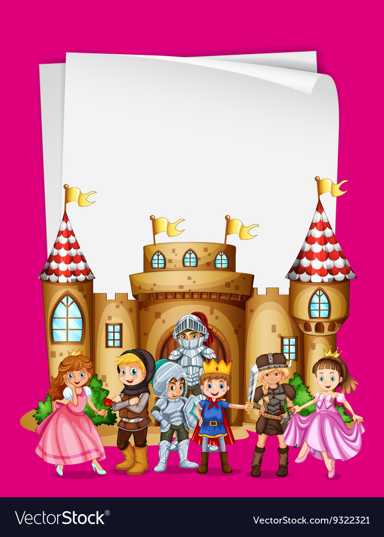 Paper design with characters from fairytales vector