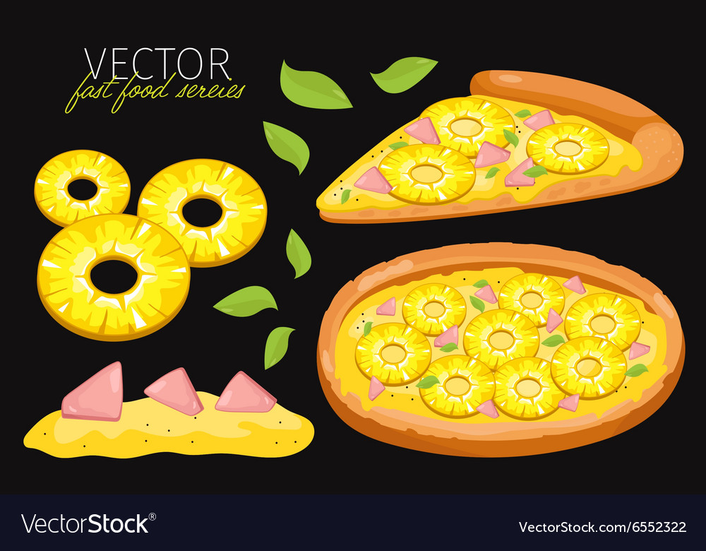Isolated pineapple pizza fast food set vector