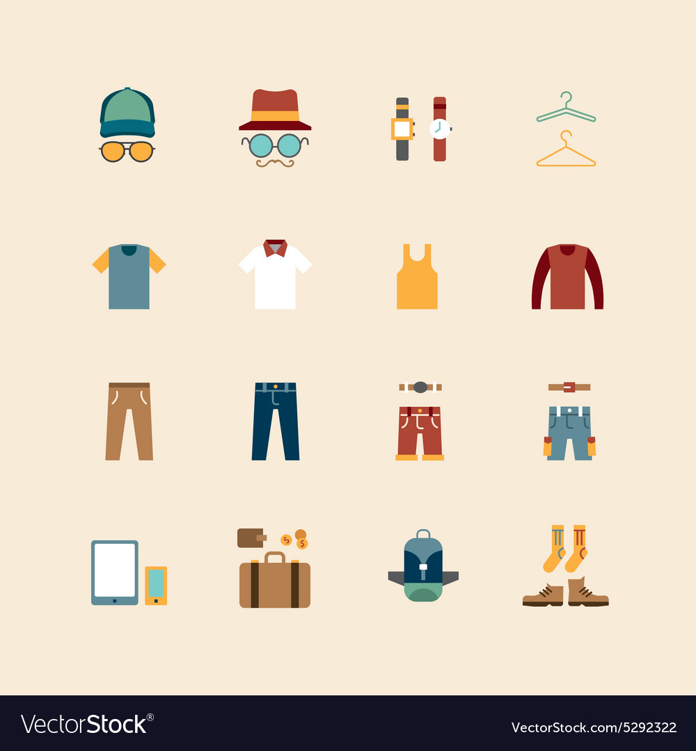 Web flat icons set  man clothing store vector