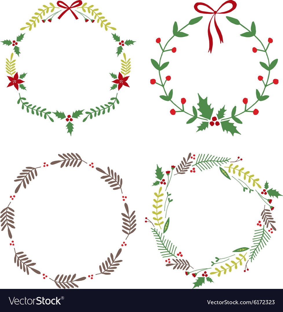 Christmas circle borders wreaths frames vector