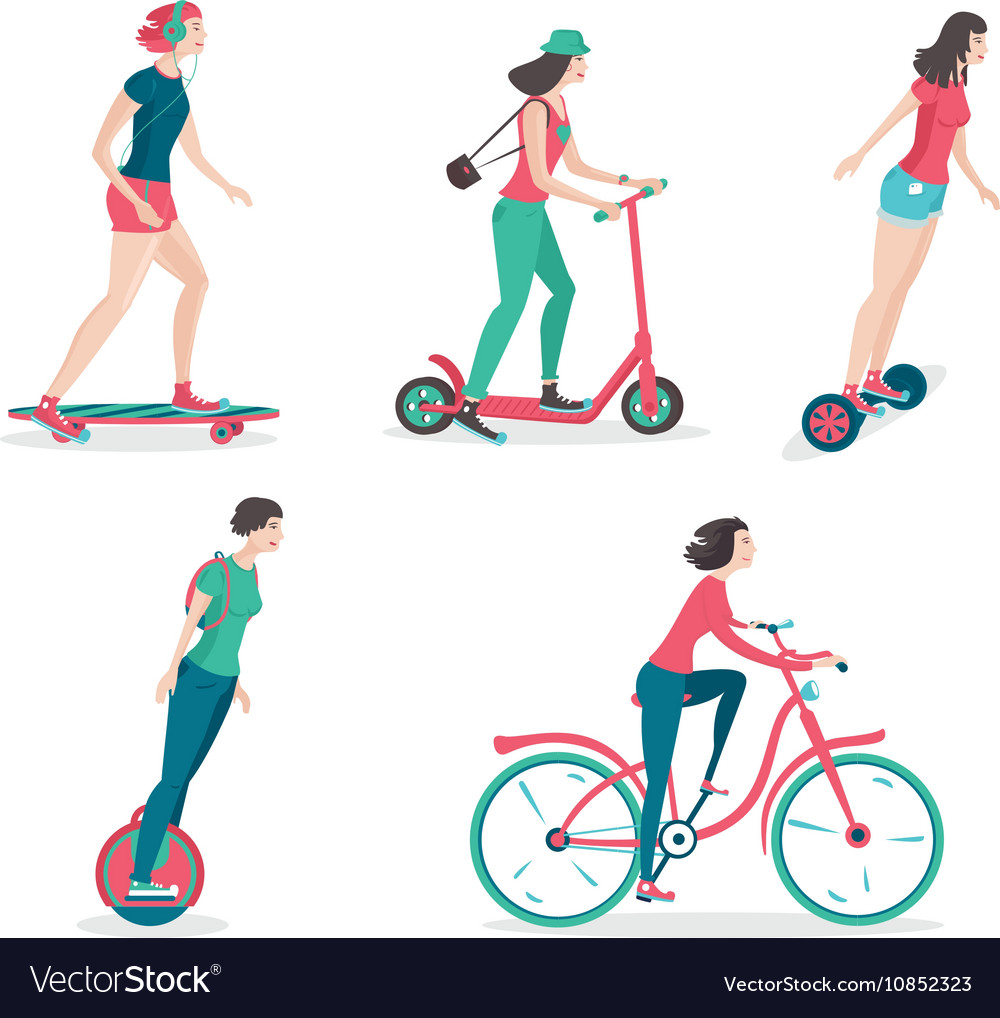 Personal city transportation isolated girl icos vector