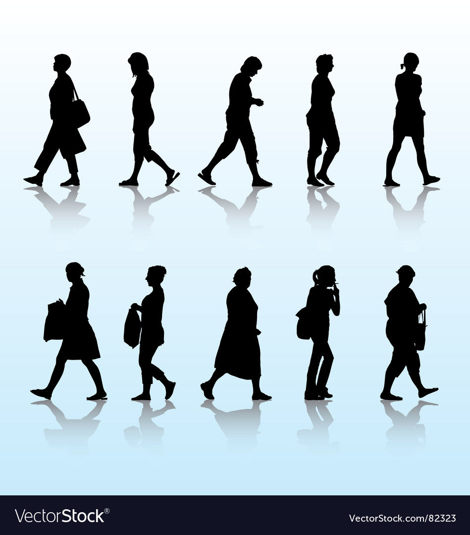 Walking women vector
