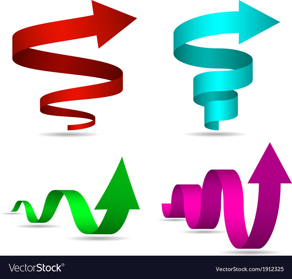 3d spiral and twisted arrows set vector