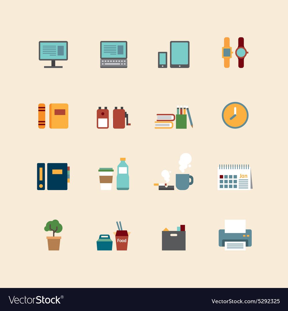 Web flat icons set  business office tools vector