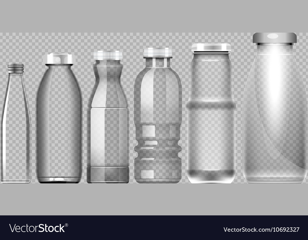 Set of transparent glass jar bottle vector