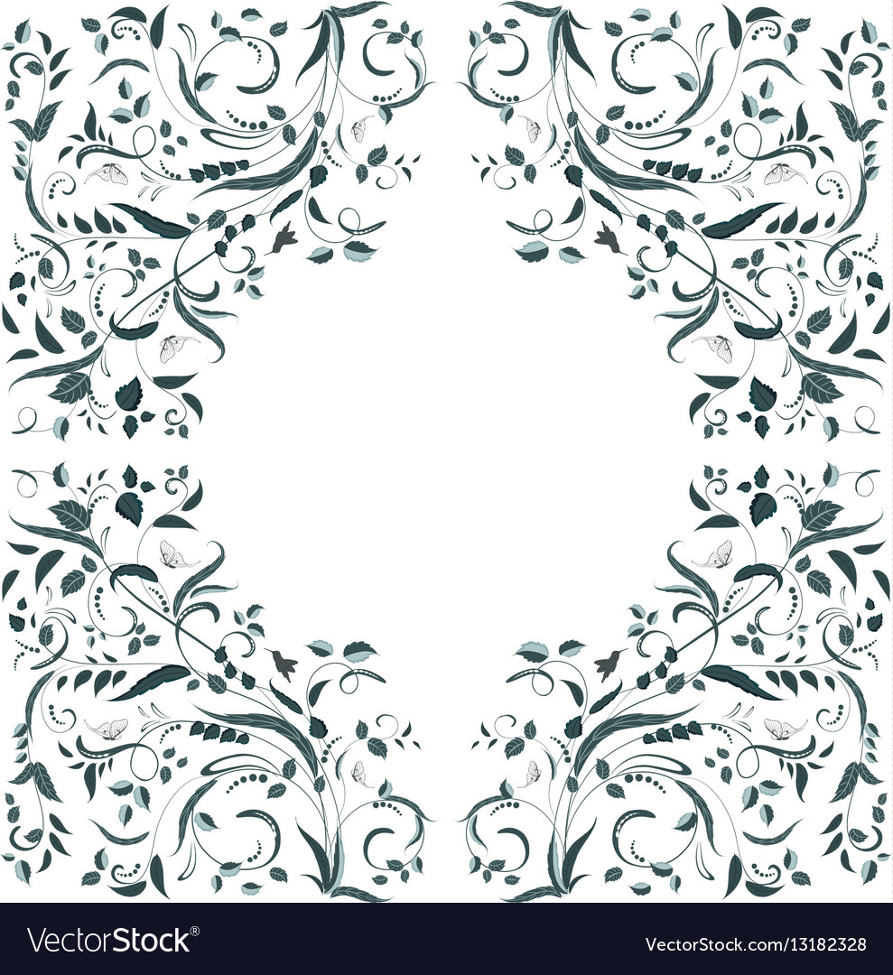 Floral swirl border for your design vector
