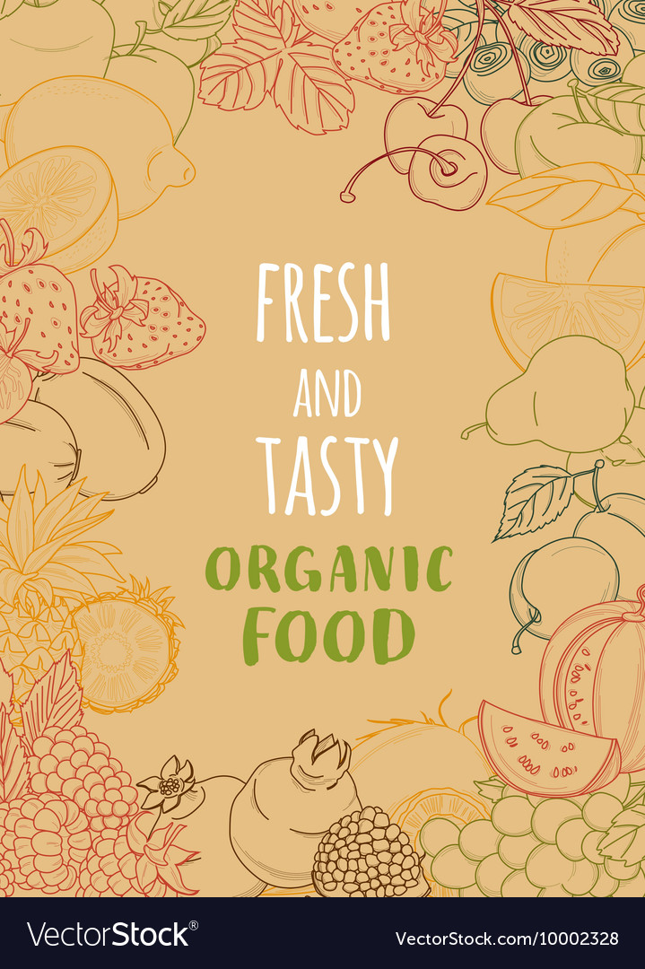 Fresh organic spring summer fruits and vegetables vector