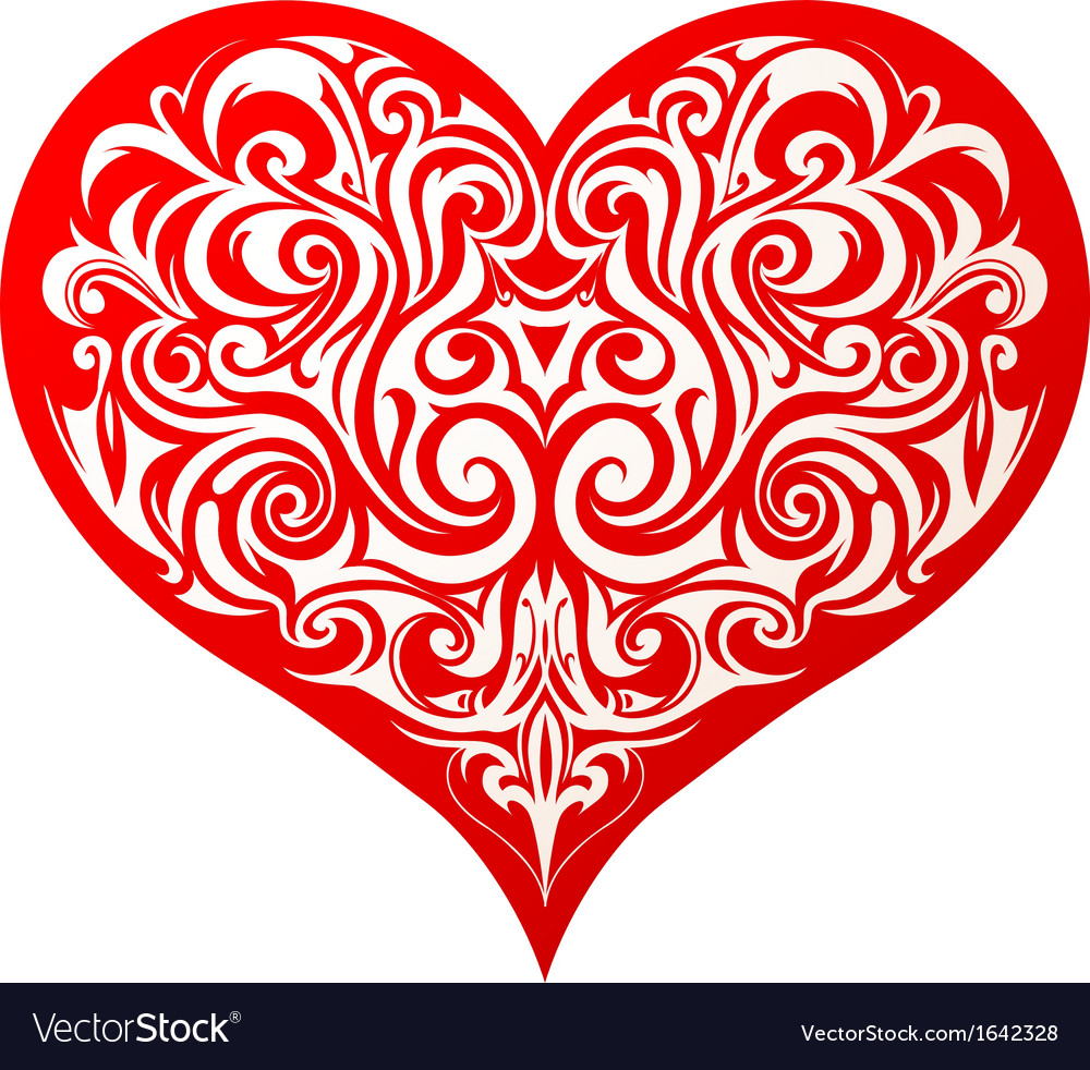 Heart with abstract patttern vector