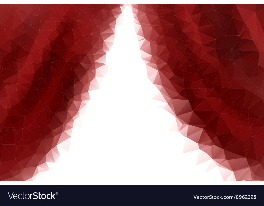 Low poly empty red stage entrance curtains vector