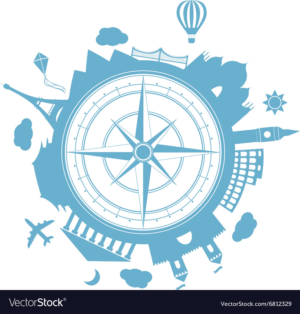 Travel agency round icon vector