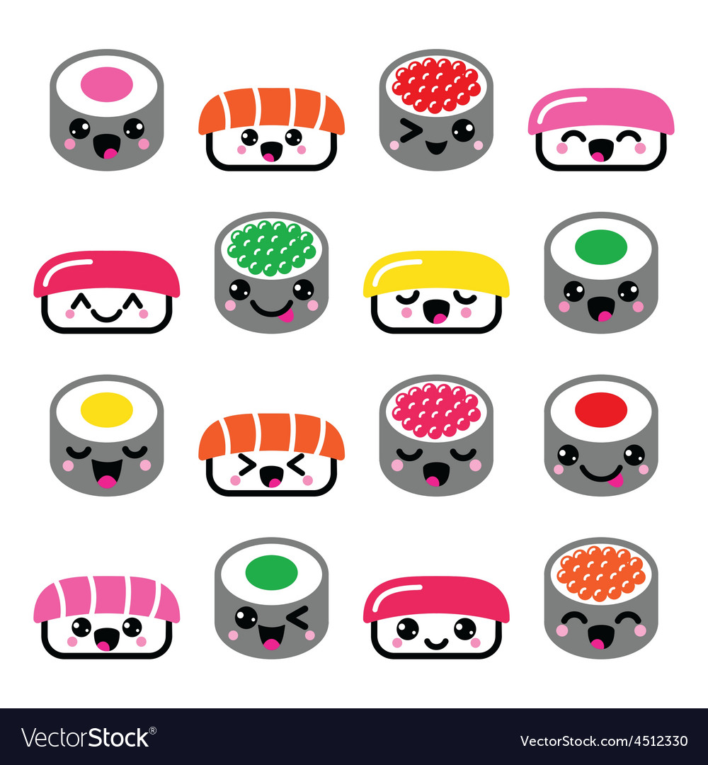 Cute kawaii sushi  japanese food icons set vector