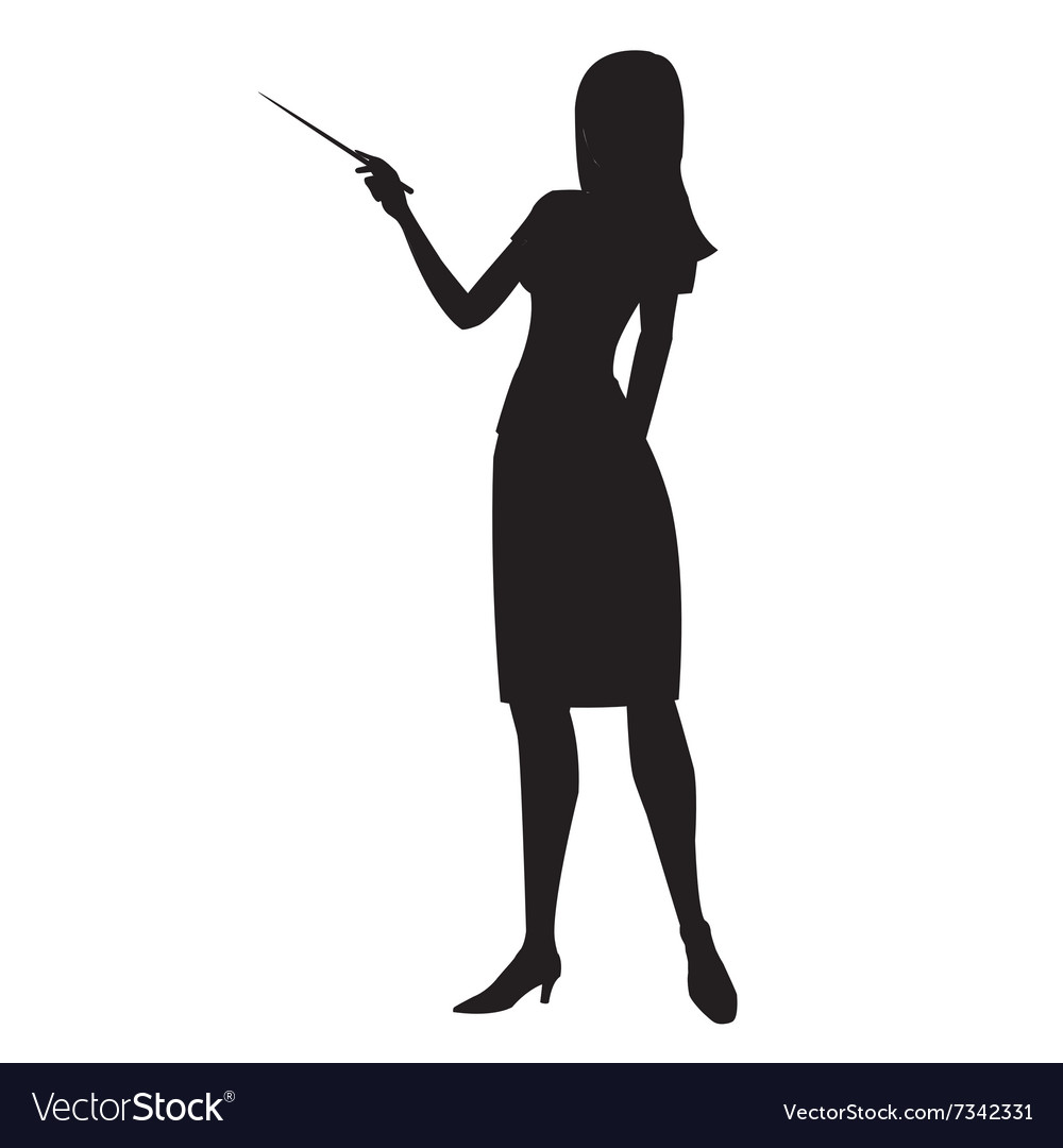 Silhouette woman showing pointer vector