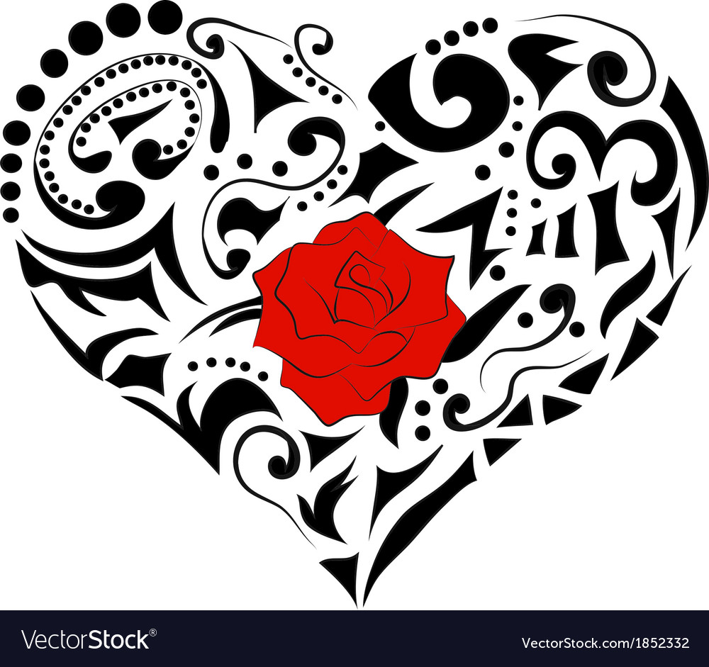 Abstract floral heart vector