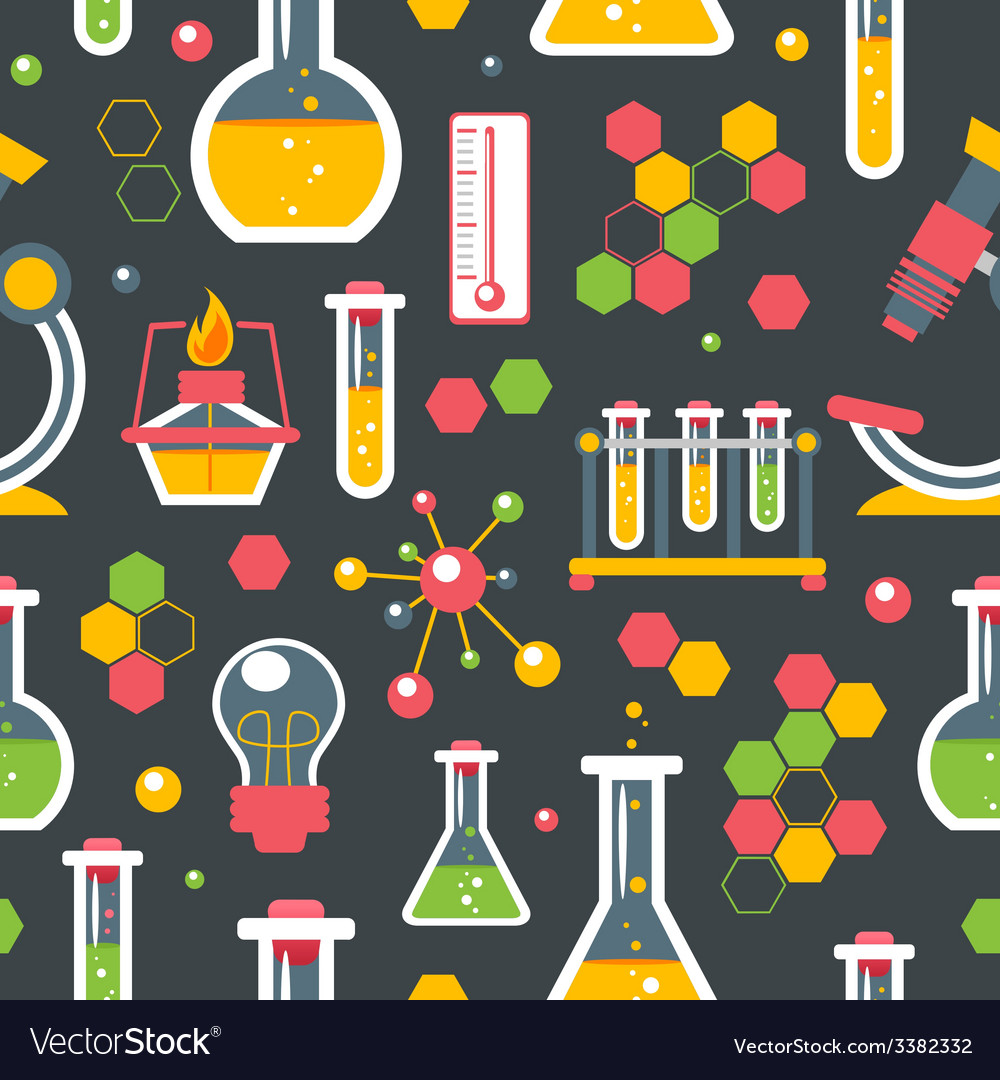 Chemistry seamless pattern vector