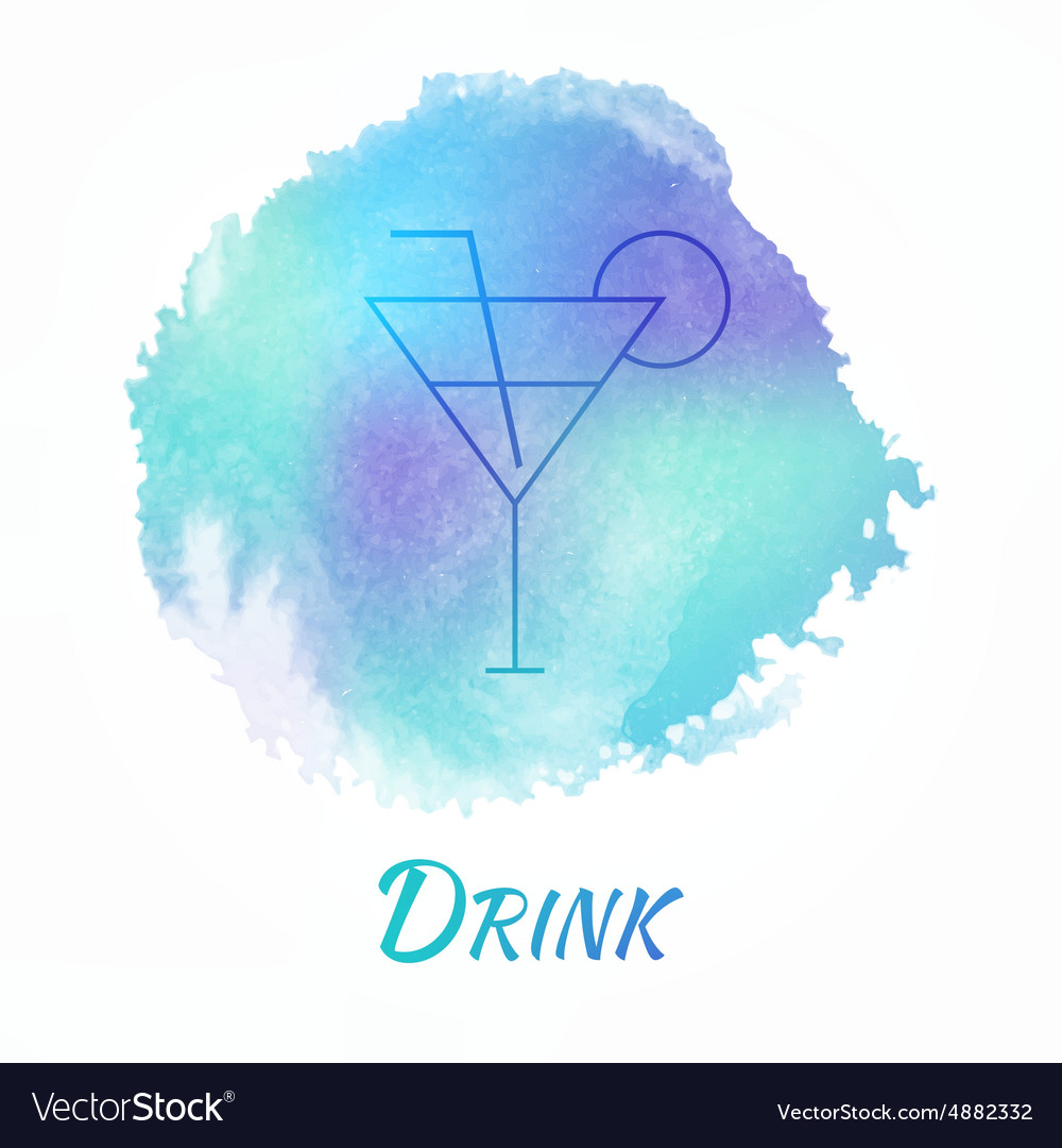 Drink alcohol cocktail watercolor concept vector