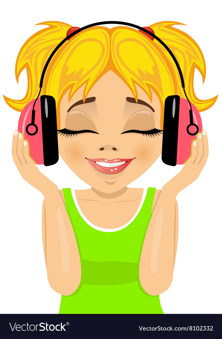 Girl enjoys listening to music with headphones vector