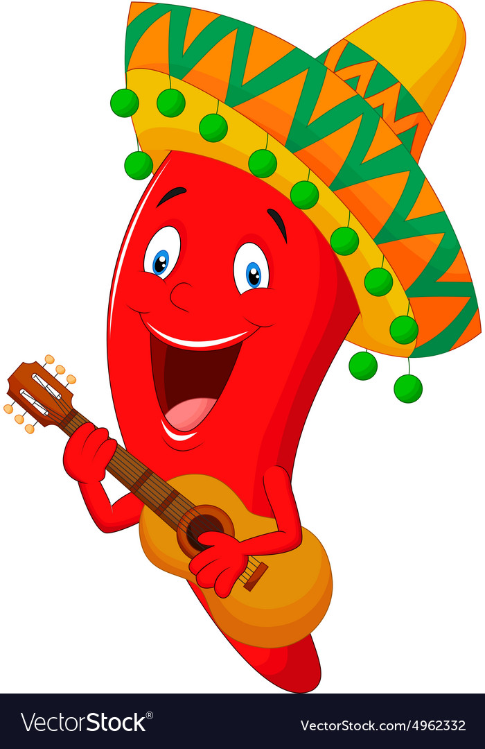 Red chili pepper cartoon character with mexican ha vector