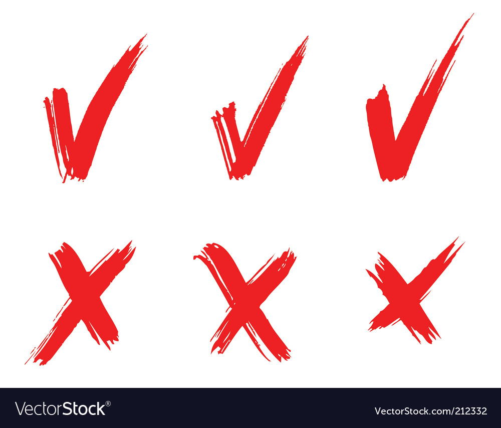 Set of red painted ticks vector