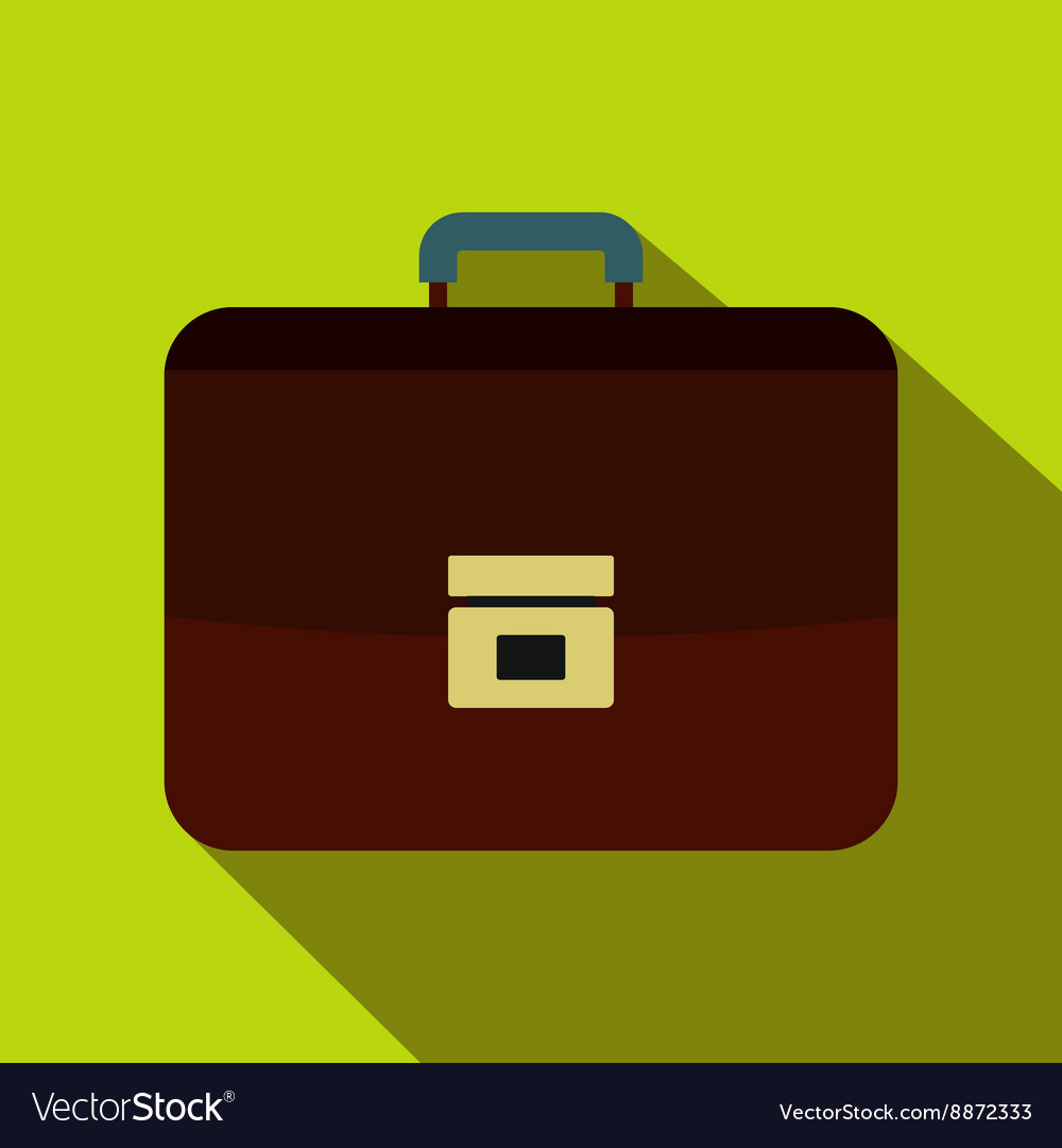 Brown business briefcase icon flat style vector