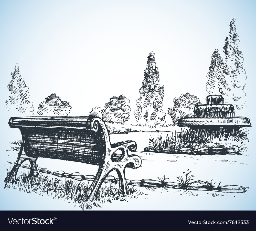 Park sketch a fountain and bench vector