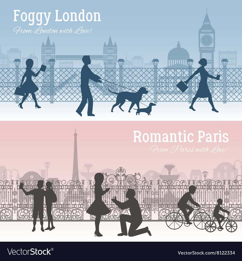 London and paris banners set vector