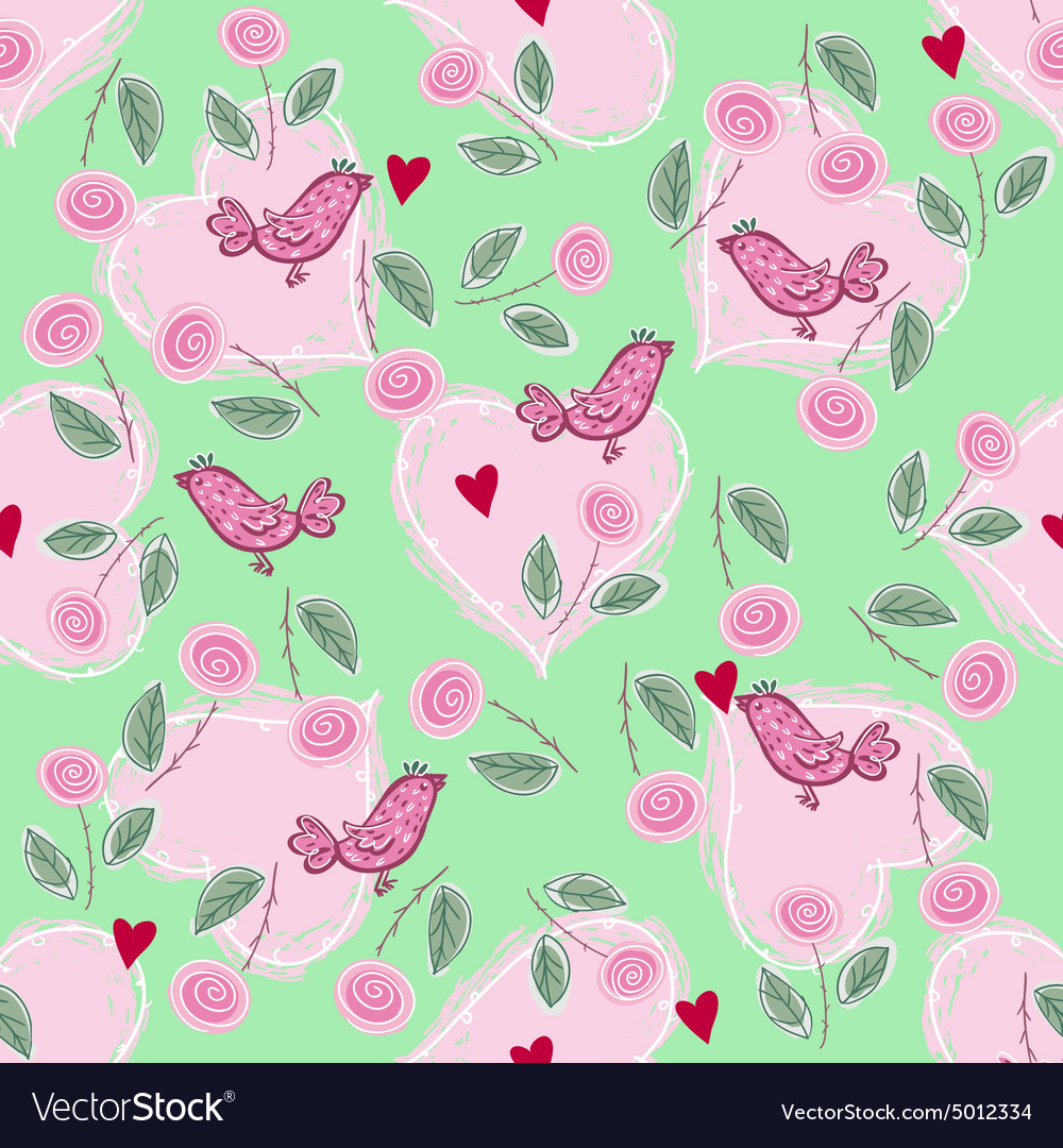 Pattern with love hearts and birds vector