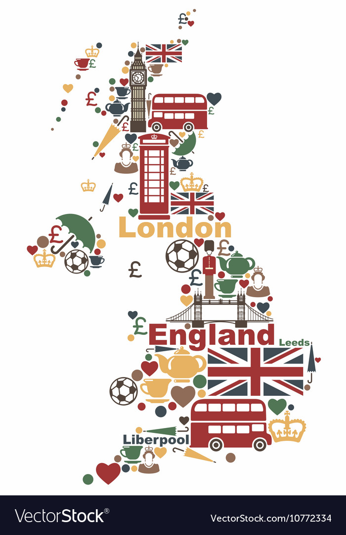 Symbols of the uk in the shape of a map vector