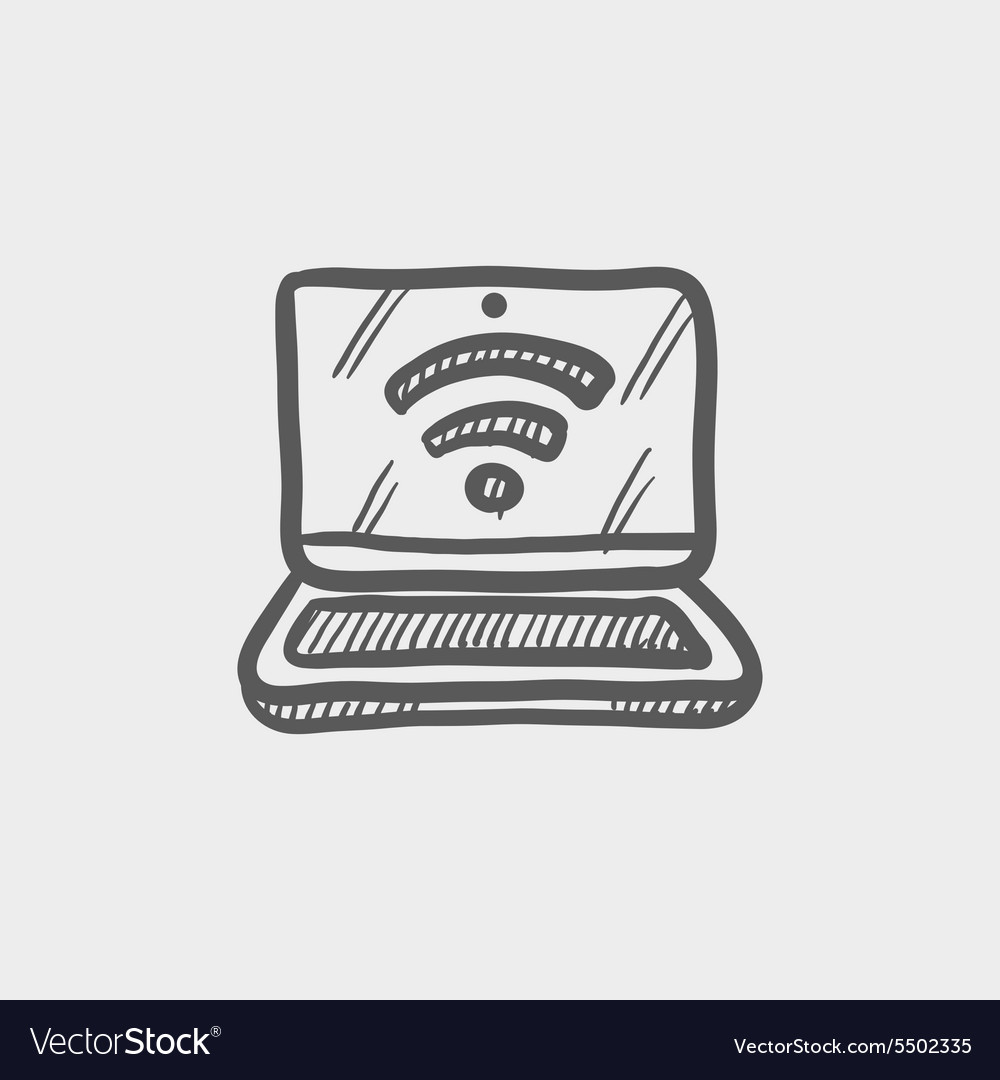 Laptop with internet wifi sketch icon vector