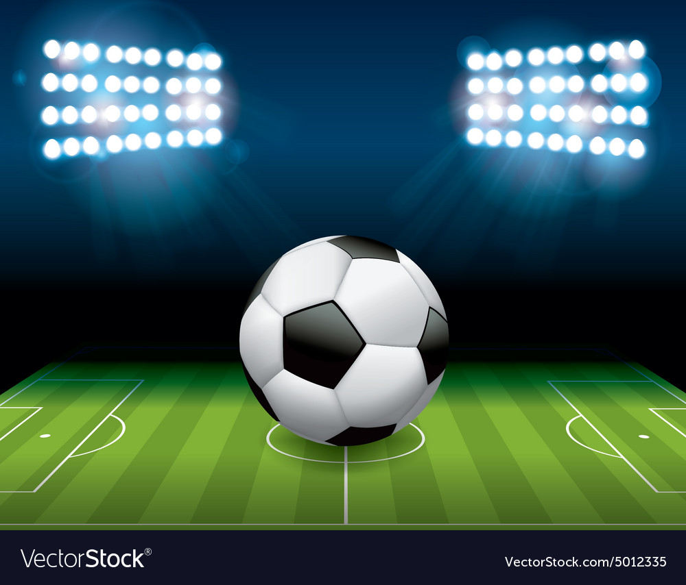 Soccer football on stadium field vector