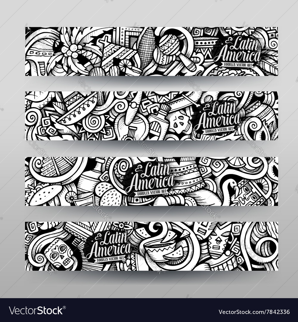 Graphics latin american doodle banners vector