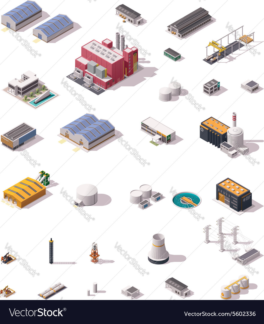 Isometric factory buildings set vector