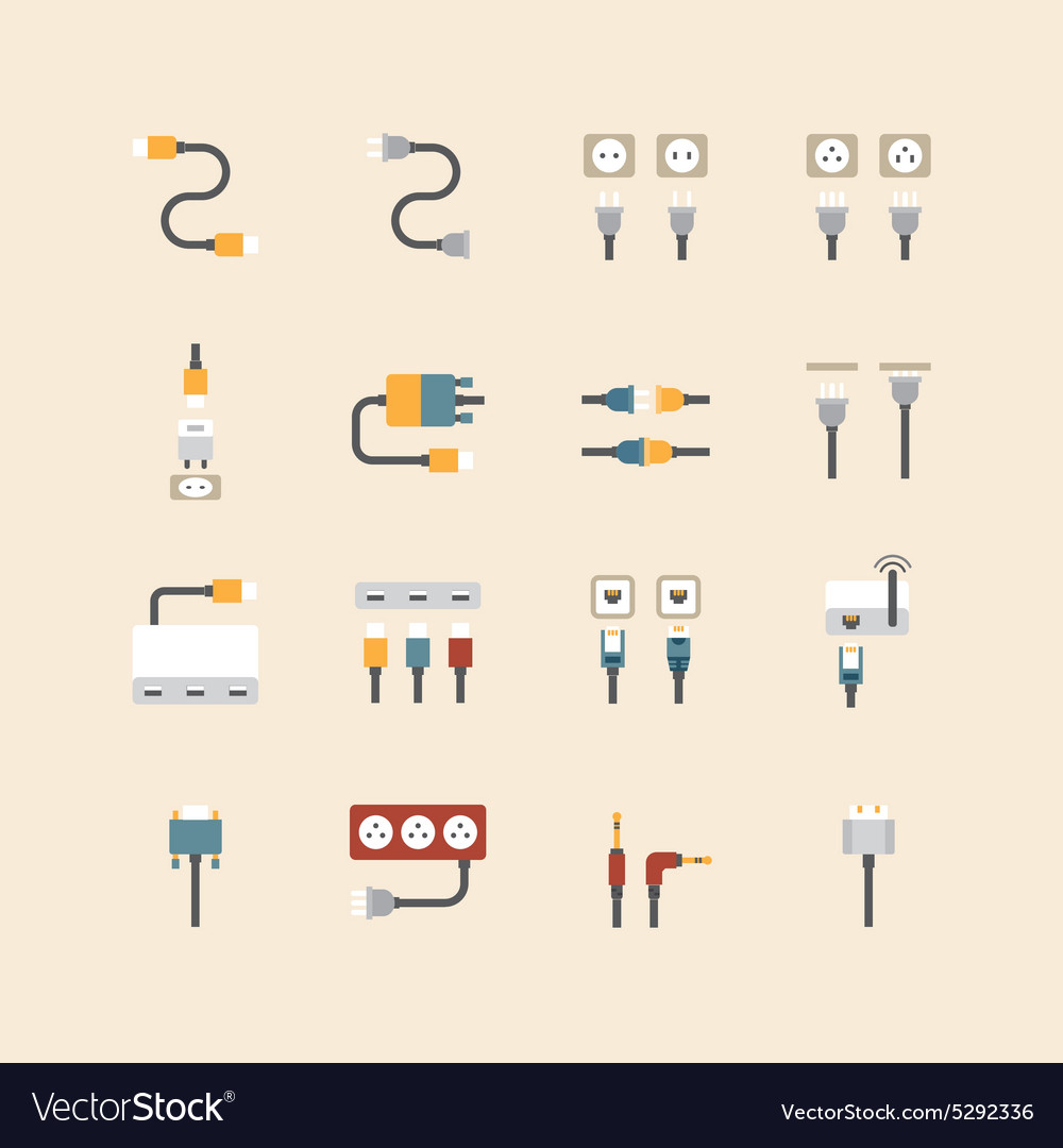 Linear web icons set  cable wire computer vector