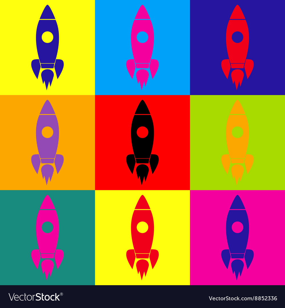 Rocket sign popart style icons set vector