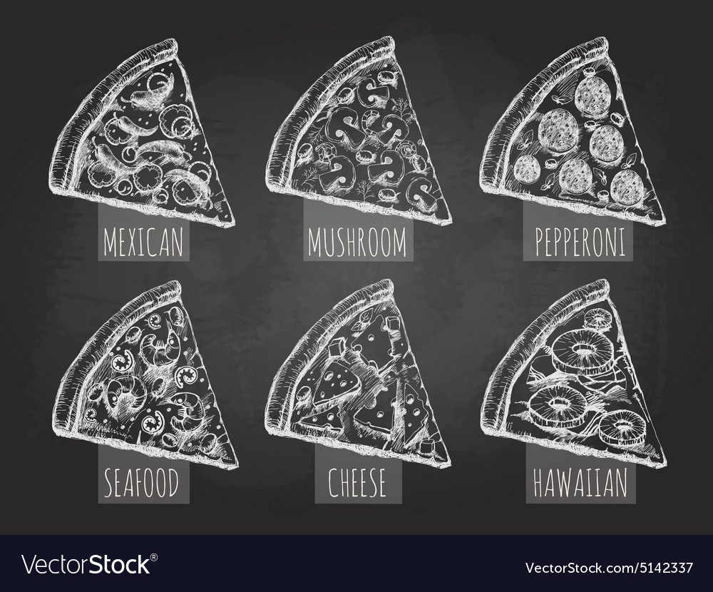 Chalk drawing pizza vector