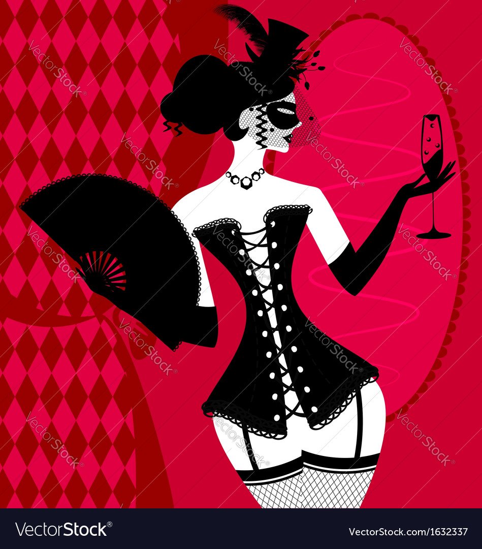Lady in a black corset vector