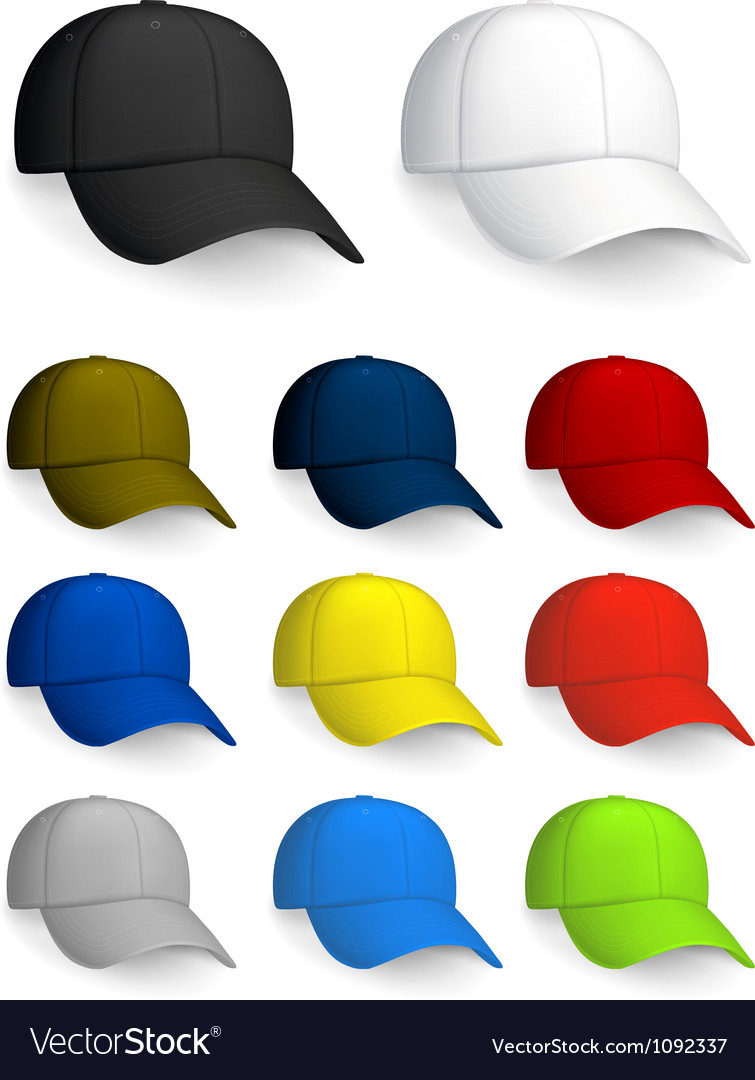 Set of baseball caps isolated on the white vector