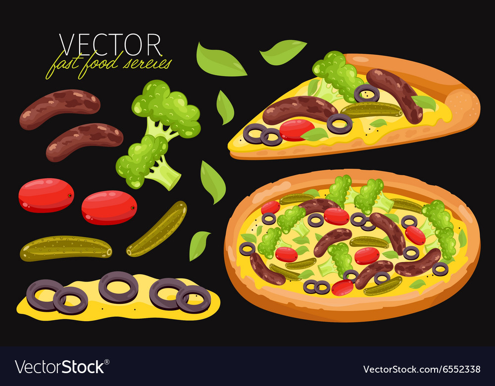 Isolated sausage pizza fast food set vector