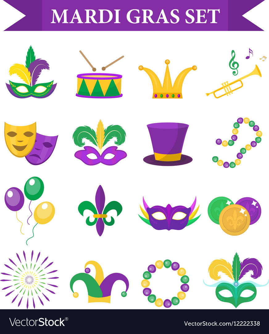 Mardi gras carnival set icons design element vector