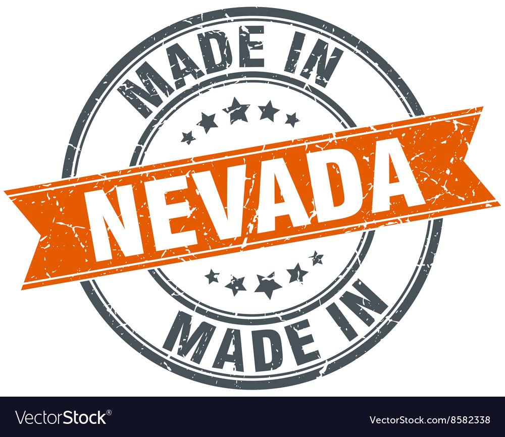 Nevada orange grunge ribbon stamp on white vector