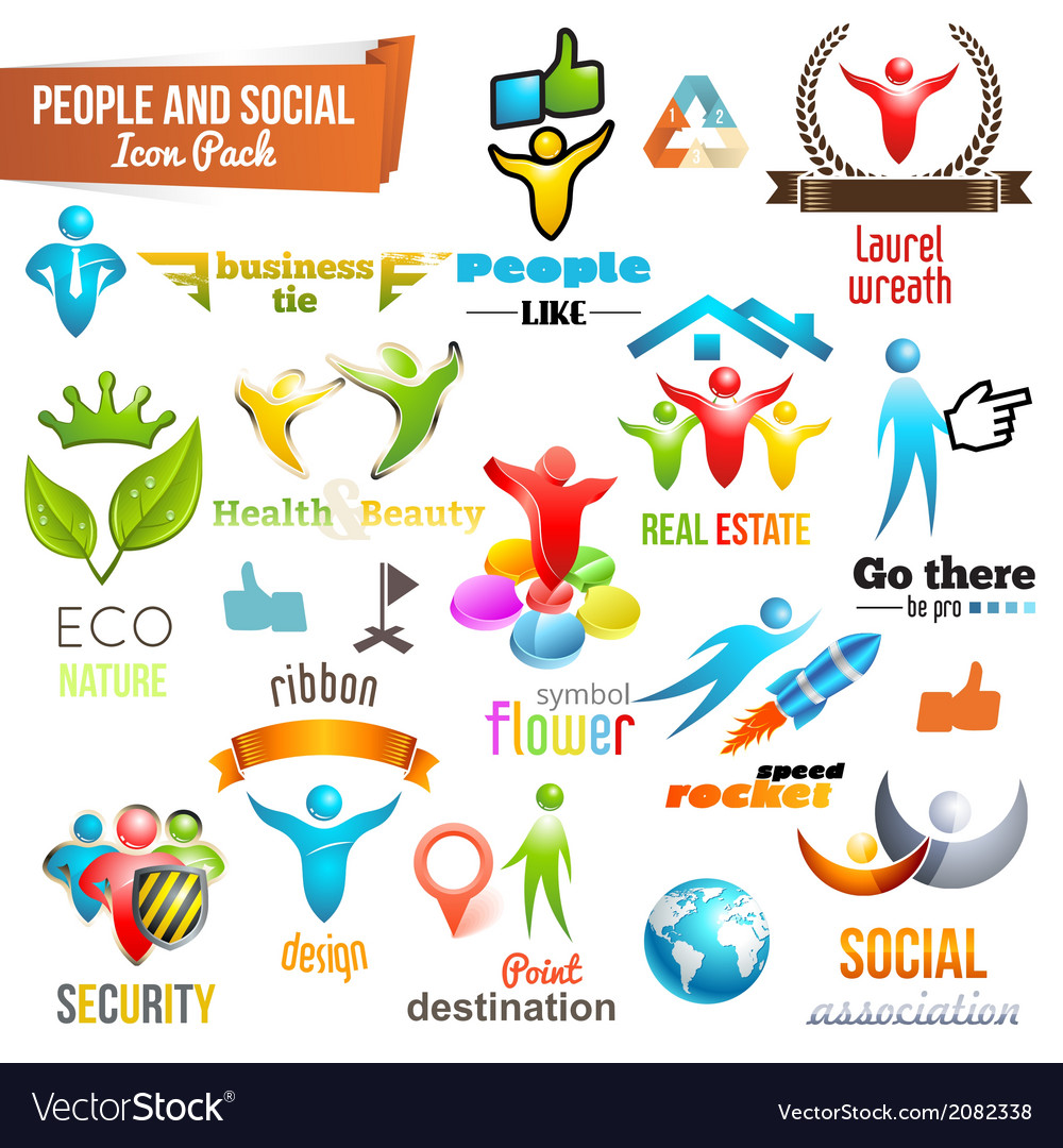 People social community 3d icon and symbol pack vector