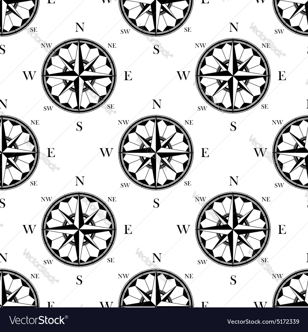 Retro ornate compass roses seamless pattern vector