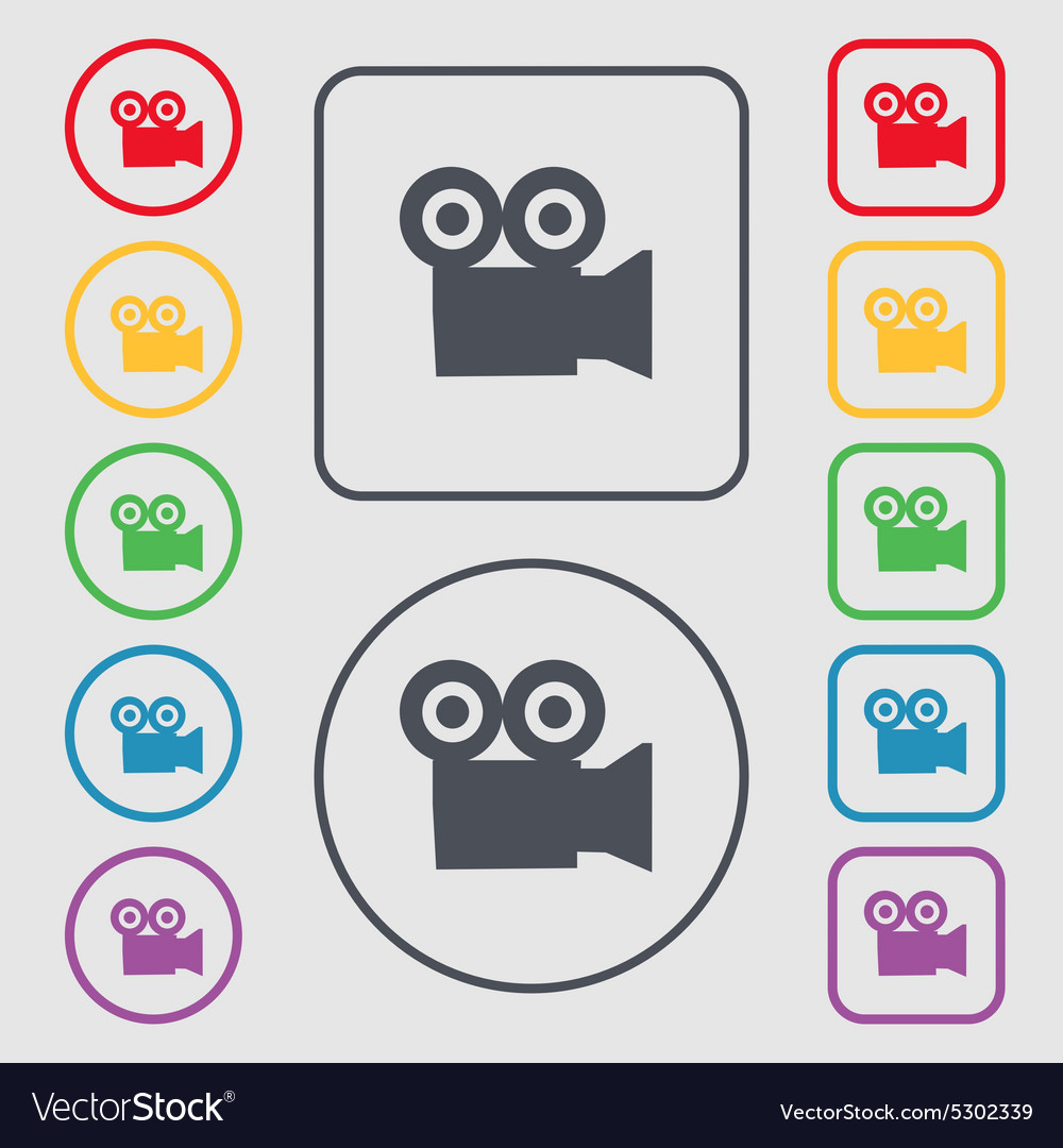 Video camera icon sign symbol on the round and vector