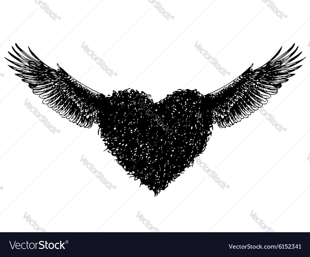 Heart and angle wing vector