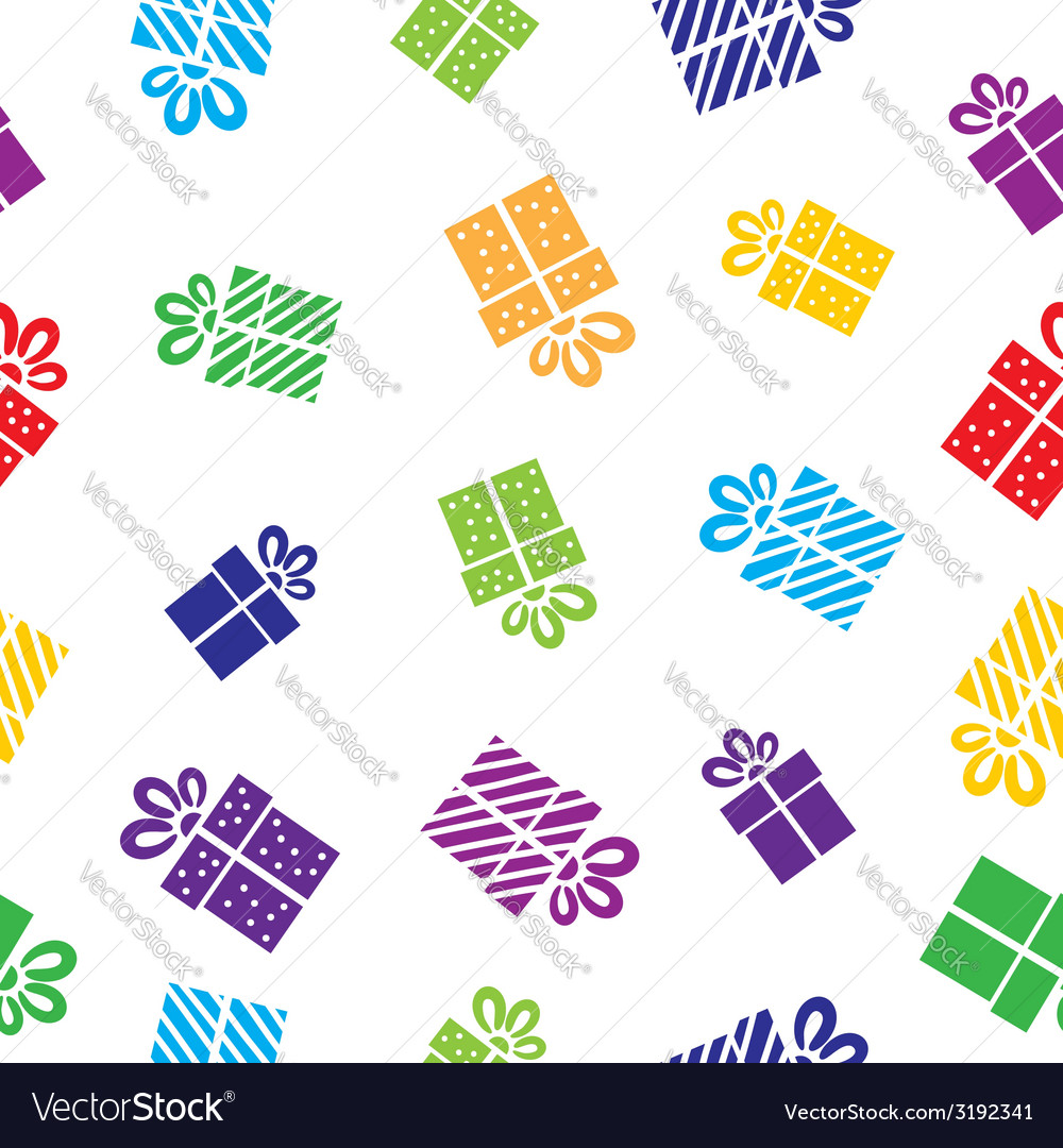 Seamless gift pattern boxes on white background vector