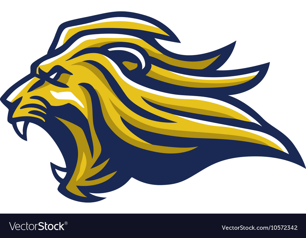 Angry lion head mascot vector