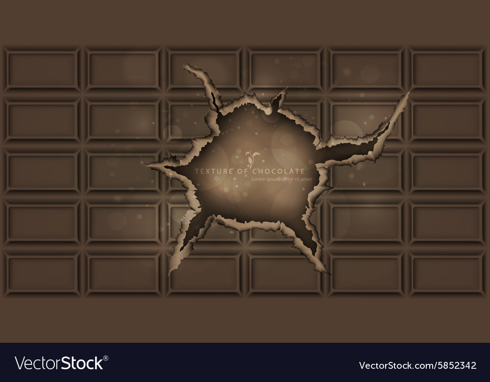 Chocolate bar with a hole chocolate background vector