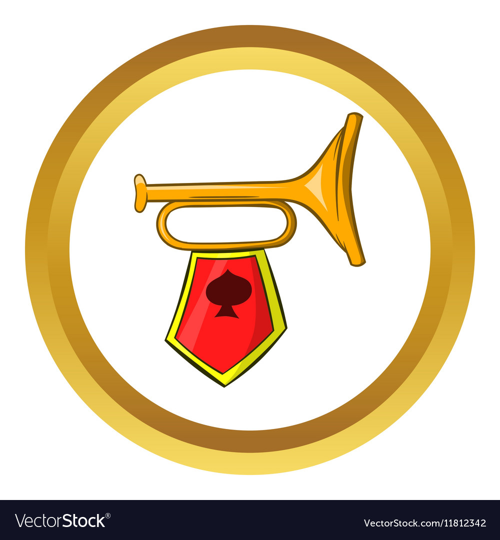 Golden trumpet icon cartoon style vector