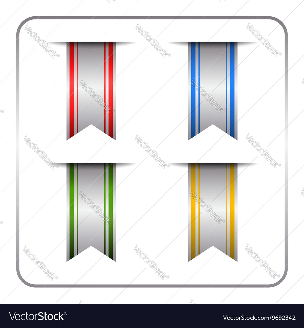 Silver colored bookmark set vector